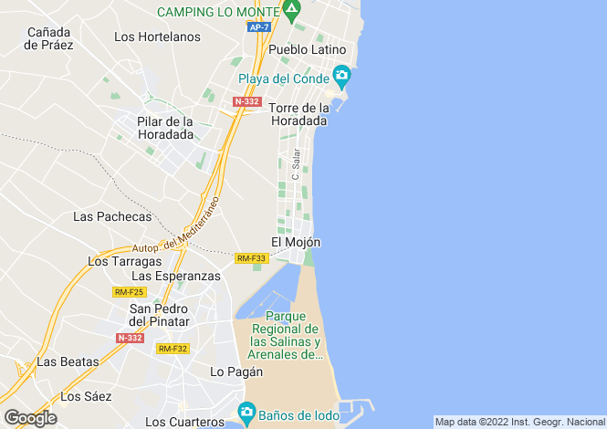 Map for Las Higuericas Beach, Torre de la Horadada, Pilar de la Horadada