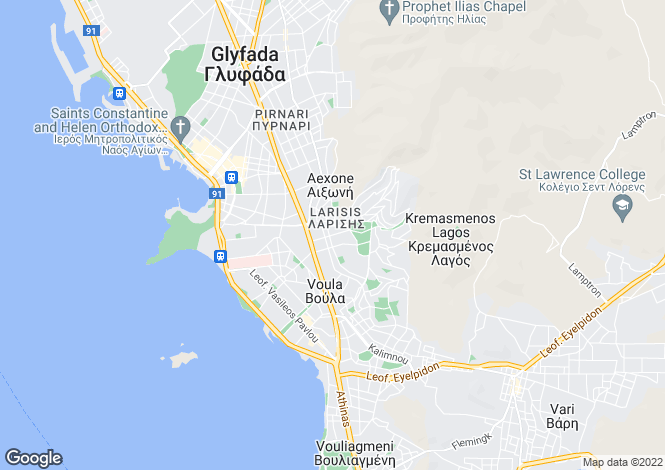 Map for Attica, Voula