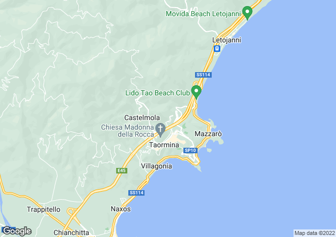 Map for Taormina, Messina, Sicily