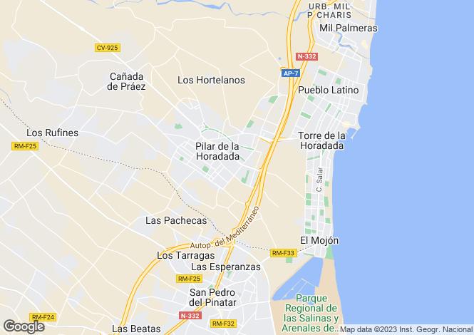 Map for Valencia, Alicante, Pilar de la Horadada