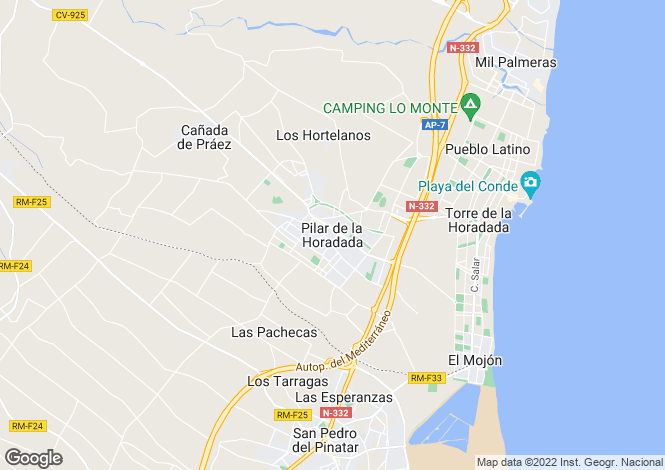 Map for Spain - Valencia, Alicante, Pilar de la Horadada