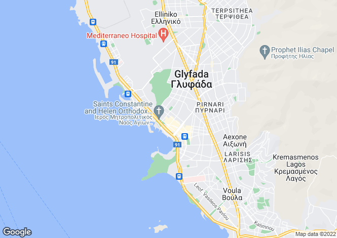 Map for Attica, Glyfada