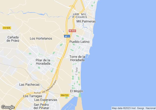 Map for Valencia, Alicante, Torre de la Horadada