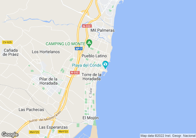 Map for Spain - Valencia, Alicante, Torre de la Horadada