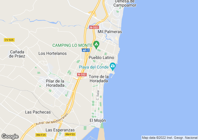 Map for Torre de la Horadada, Pilar de la Horadada, Alicante