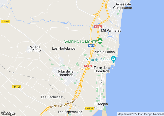 Map for Valencia, Alicante, Pilar de la Horadada