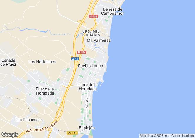 Map for Spain - Valencia, Alicante, Torre de la Horadada