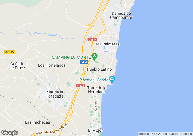 Map for Valencia, Alicante, Torre de la Horadada