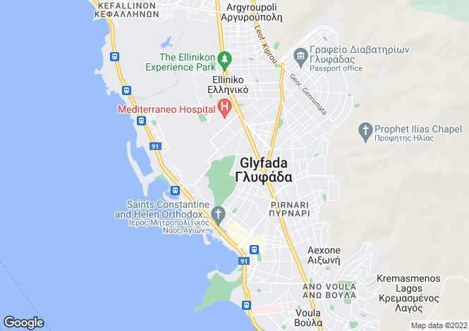 Map for Attica, Glyfada