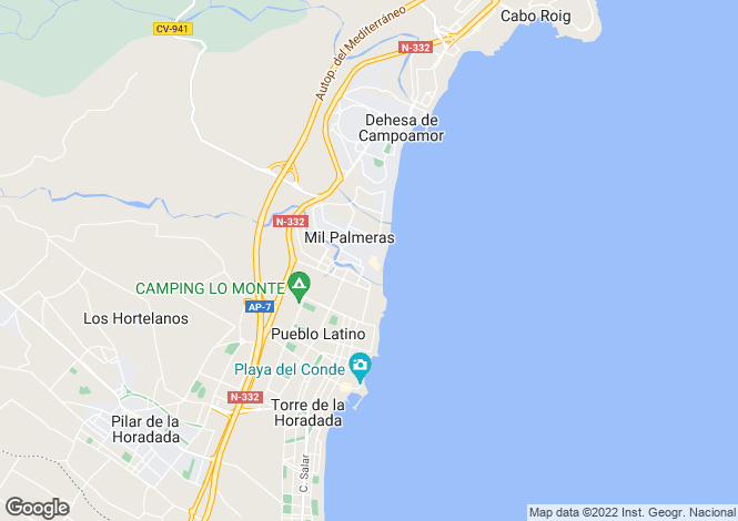 Map for Mil Palmeras, Alicante, Spain