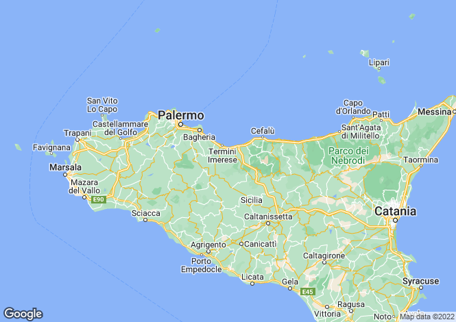 Map for Sicily, Palermo, Bisacquino
