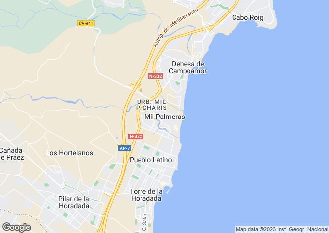 Map for Spain - Valencia, Alicante, Mil Palmeras