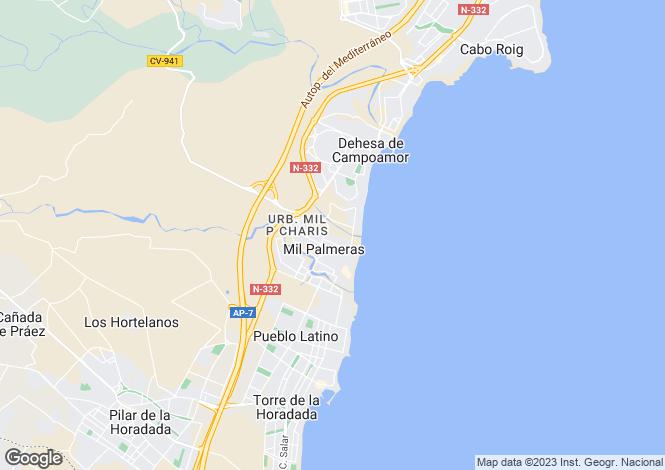 Map for Valencia, Alicante, Mil Palmeras