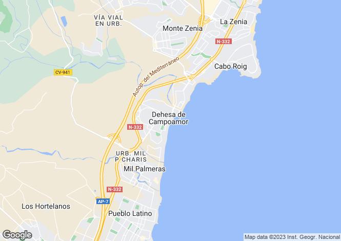 Map for Campoamor, Alicante, Valencia