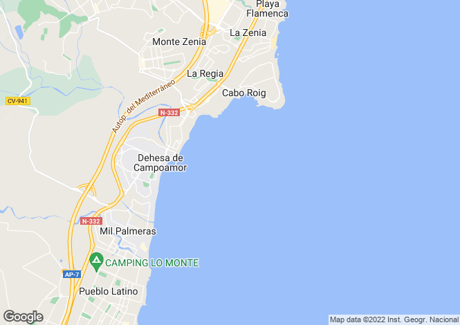Map for Campoamor, Alicante, Spain