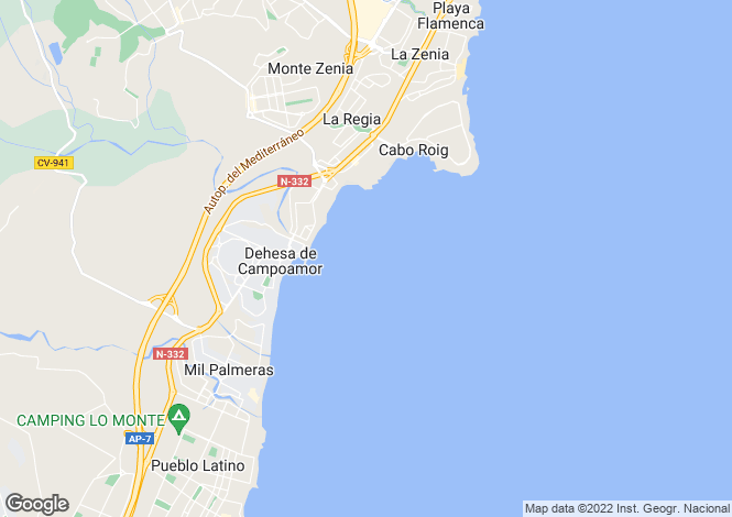 Map for Spain, Valencia, Alicante, Dehesa de Campoamor