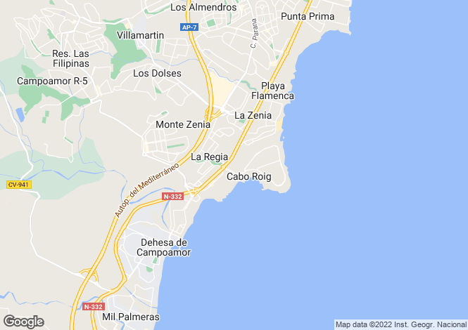 Map for Cabo Roig, Alicante, Valencia