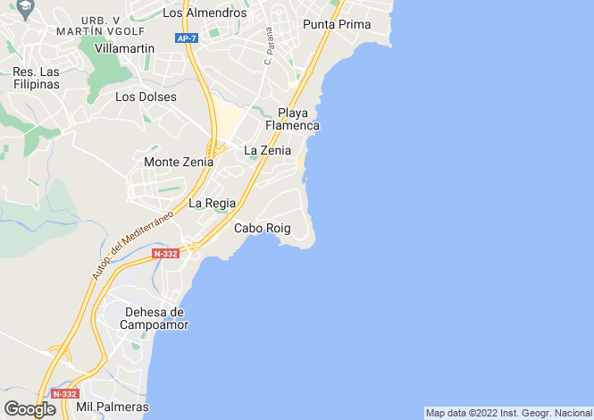 Map for Lomas de Cabo Roig, Cabo Roig, Alicante, Spain