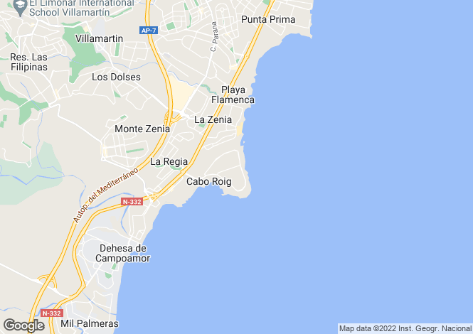 Map for Spain, Valencia, Alicante, Cabo Roig