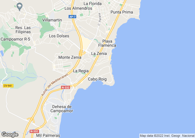 Map for Valencia, Alicante, Cabo Roig