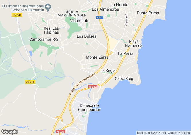 Map for Cabo Roig, Alicante, Valencia