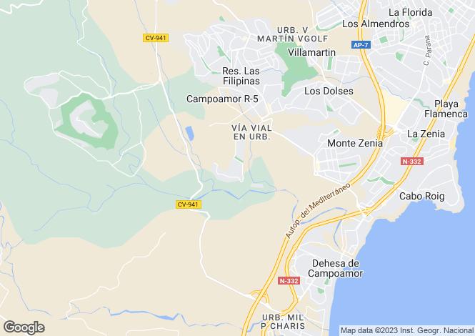 Map for Valencia, Alicante, Orihuela Costa