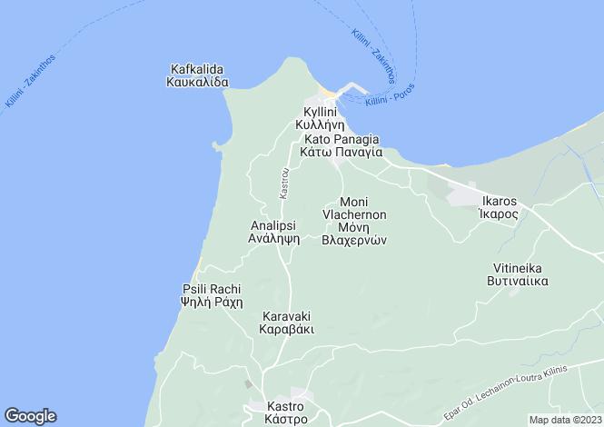 Map for Peloponnese, Elis, Kyllini