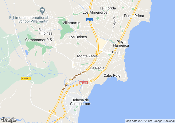 Map for Valencia, Alicante, Cabo Roig