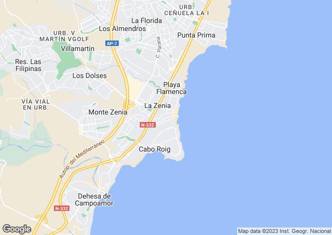 Map for Valencia, Alicante, La Zenia