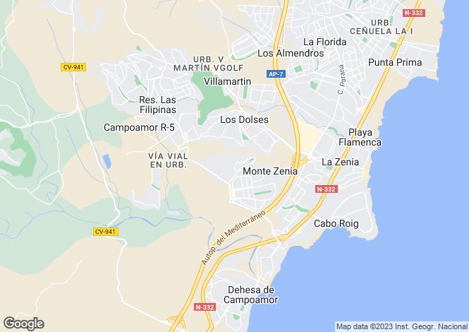 Map for Dehesa de Campoamor, Alicante, Valencia