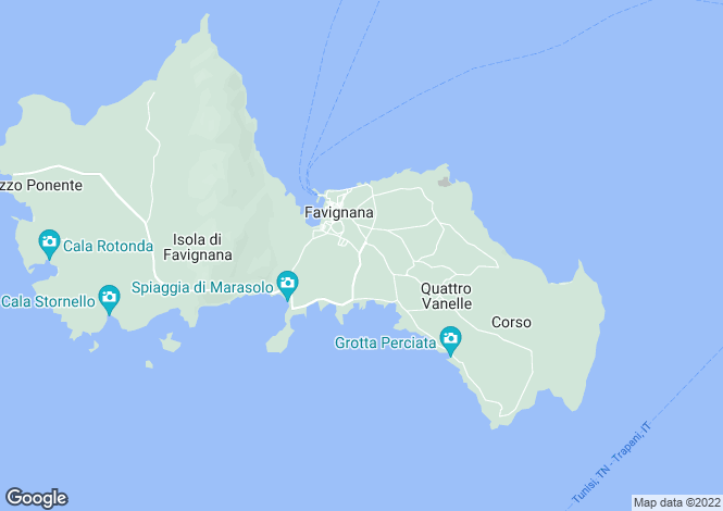 Map for Favignana, Trapani, Sicily