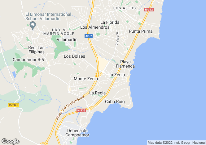 Map for Spain - Valencia, Alicante, Orihuela Costa