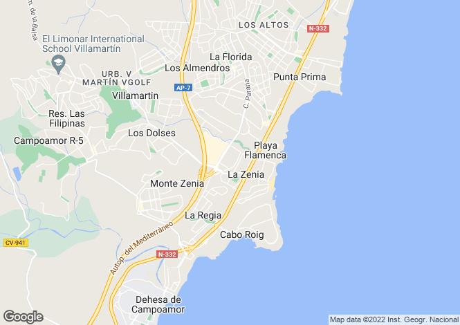 Map for La Zenia, Alicante, Valencia