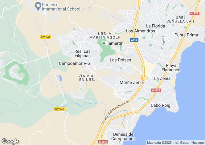 Map for Valencia, Alicante, Campoamor