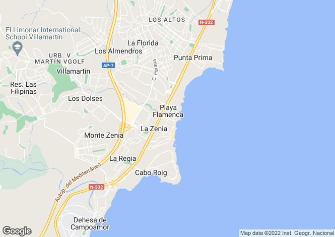 Map for Valencia, Alicante, La Zenia