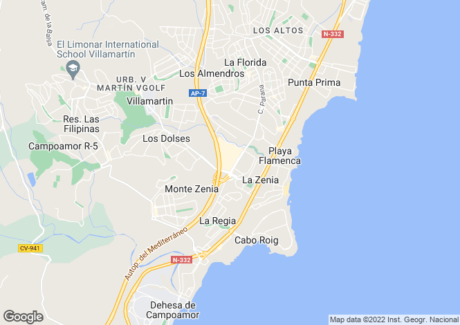 Map for Valencia, Alicante, Orihuela Costa