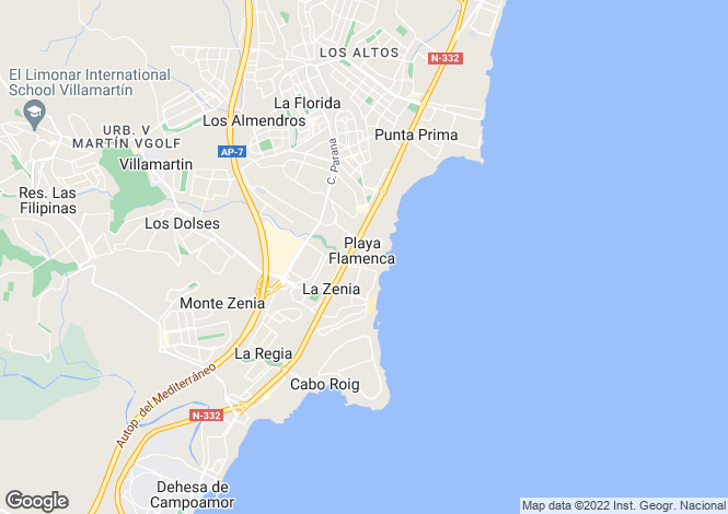 Map for Playa Flamenca, Alicante, Spain