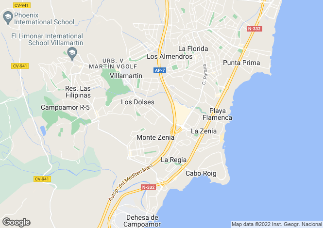 Map for Valencia, Alicante, Villamartin