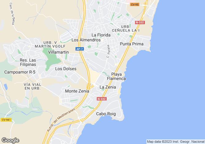 Map for Playa Flamenca, Alicante, Spain