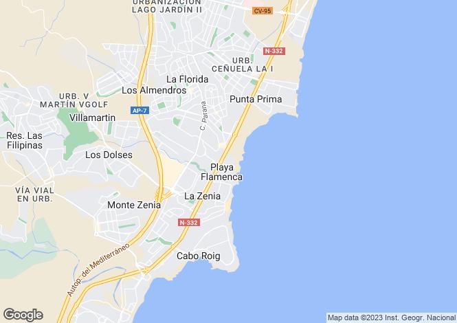 Map for 3 bedroom house in Playa Flamenca, Alicante, Spain