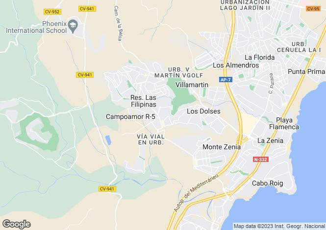Map for Villamartin, Alicante, Valencia