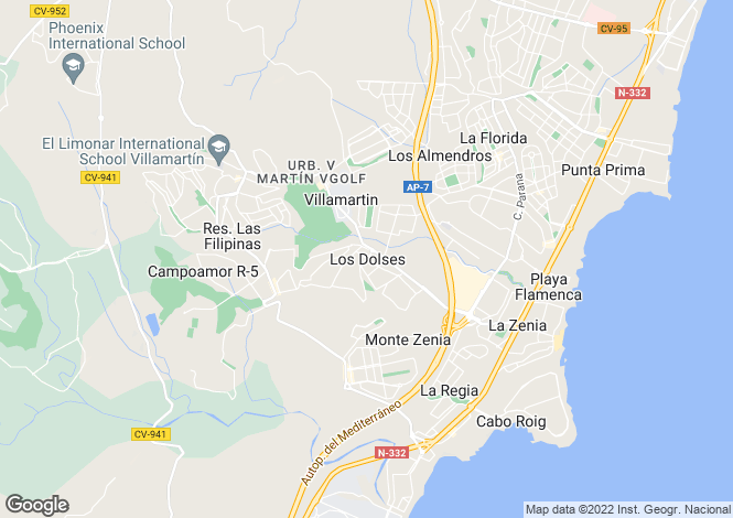 Map for 2 bedroom apartment in Los Dolses, Alicante, Spain