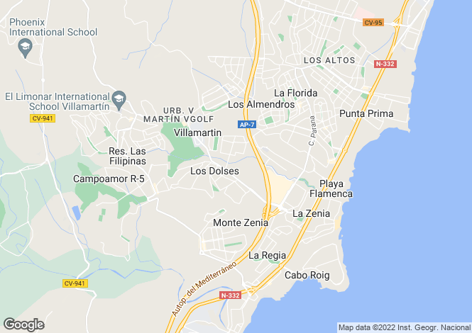 Map for La Zenia, Alicante, Spain