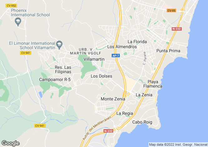 Map for La Zenia, Alicante, Valencia