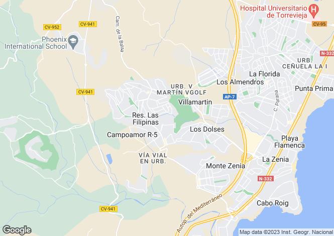 Map for Valencia, Alicante, Villamartin