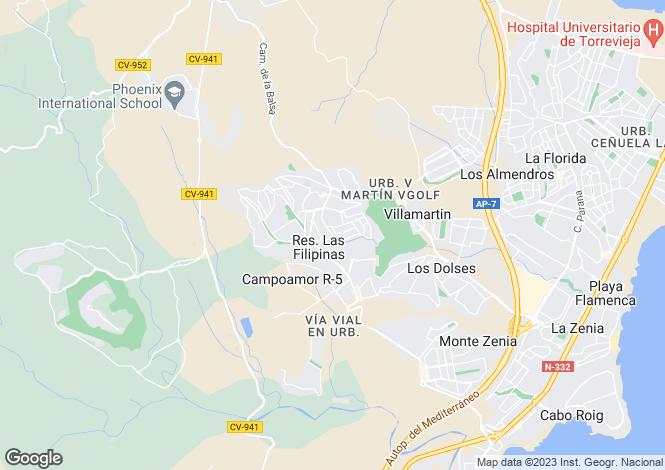 Map for Villamartin, Alicante, Spain