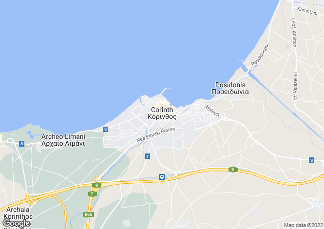 Map for Korinthos, Corinthia, Peloponnese