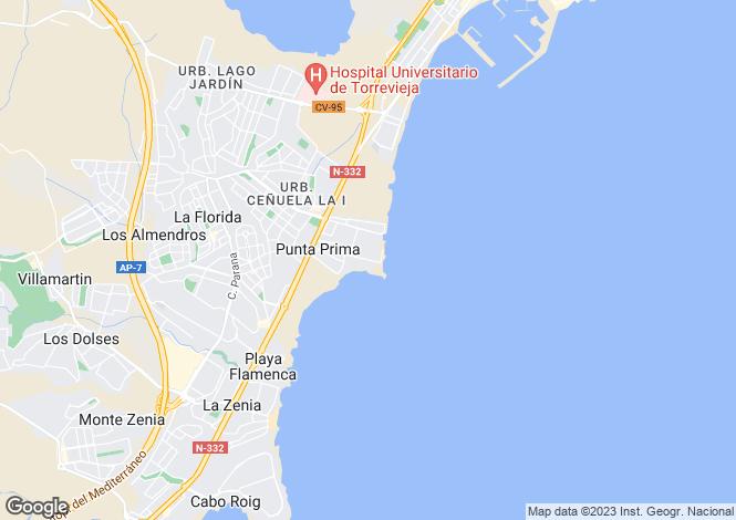 Map for Punta Prima, Torrevieja, Alicante