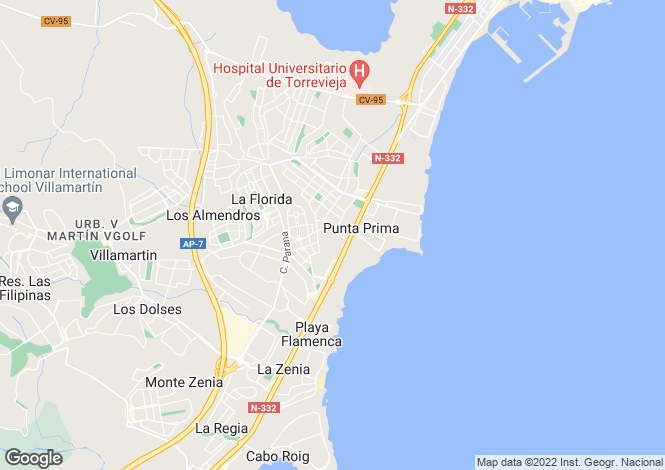 Map for Spain, Valencia, Alicante, Playa Flamenca