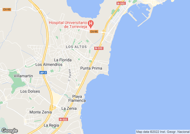 Map for Punta Prima, Punta Prima, Alicante, Spain